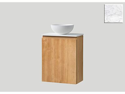 Djati teak toiletmeubel Bali links met solid surface top mat marmer - 36 cm